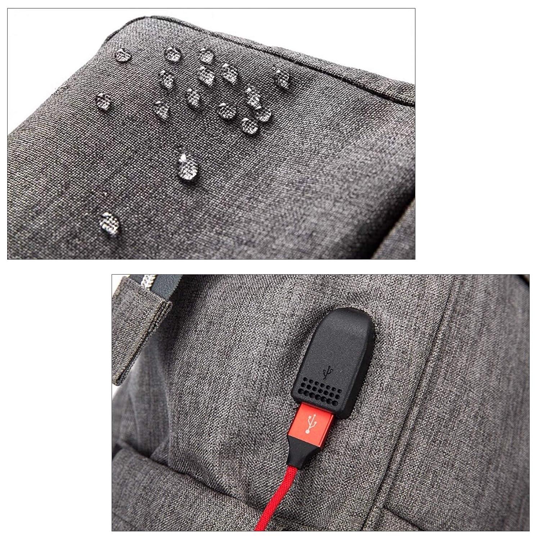 Thermopochette pour Biberons Sac /à Dos /à Langer pour B/éb/é Tissu Imperm/éable Grand Capacit/é avec Matelas /à Langer Accroches Poucette et Chargement USB Gris