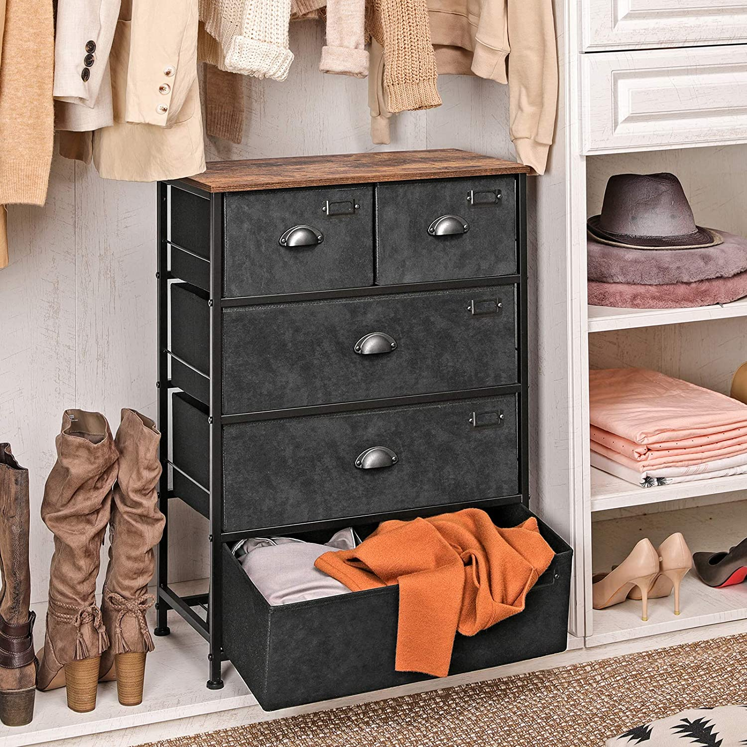SONGMICS Fabric Drawer Dresser, Storage Dresser Tower with 5 Drawers, Labels, Wooden Top, Industrial Style Closet Storage, for Living Room, Hallway, Nursery, Rustic Brown and Black ULVT45H: Home Improvement