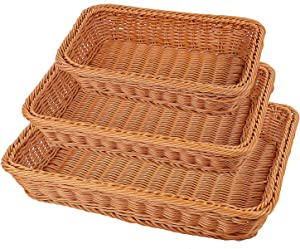 KEILEOHO 3 Packs Poly Wicker Bread Baskets Set of 16 14 12 Inch, Handmade Woven Pantry Organizer, Tabletop Food Serving Baskets for Fruits, Vegetables and Snacks, Restaurant, Hotel Serving, Brown