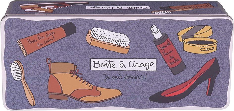 Derrière la Porte Caja Metal Zapatos Limpieza Cuidado: Amazon.es: Hogar