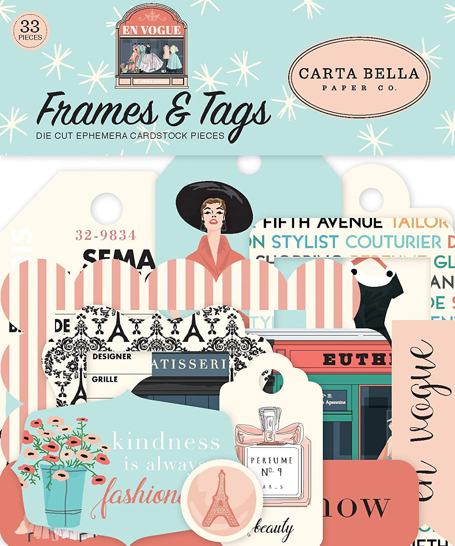 Carta Bella Paper Company En Vogue Frames & Tags ephemera, pink, green, teal, black