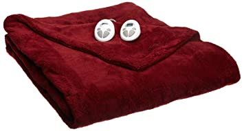Sunbeam Heated Blanket | LoftTec, 10 Heat Settings, Garnet, Queen