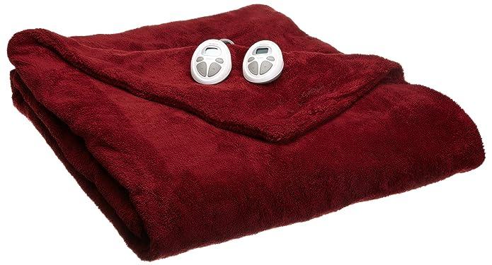 Sunbeam LoftTec Ultra Soft Electric Heated Blanket, Queen Size Garnet