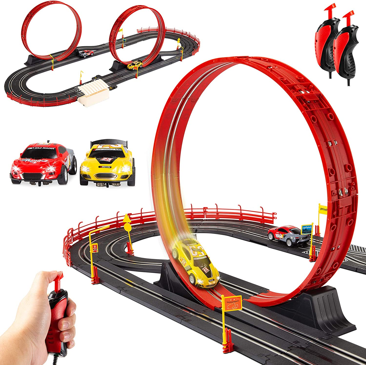 Amazon.com: Best Choice Products Electric Slot Car Race Track Set Boy Kids  Toy w/ 2 Battery Operated Cars, 2 Controllers, Customizable Courses,  360-Degree Loops, Working Lights: Toys & Games | Advanced Wiring Slot Car Track |  | Amazon