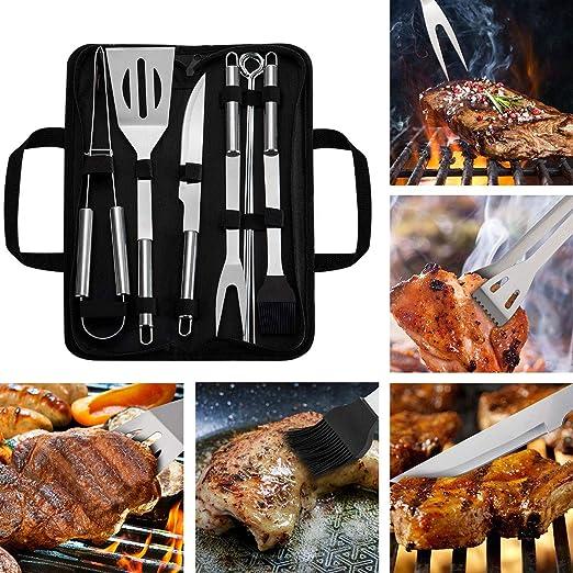 WOTOW Parrilla de herramientas de barbacoa conjunto 9 piezas de acero inoxidable barbacoa accesorios con bolsa de almacenamiento hombres mujeres al a