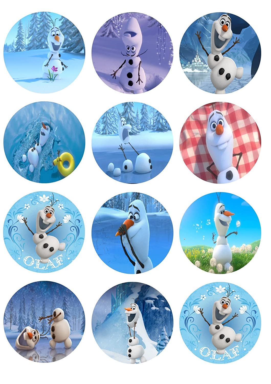 Amazoncom Edible Cupcake Toppers Olaf by Cake Images Kitchen