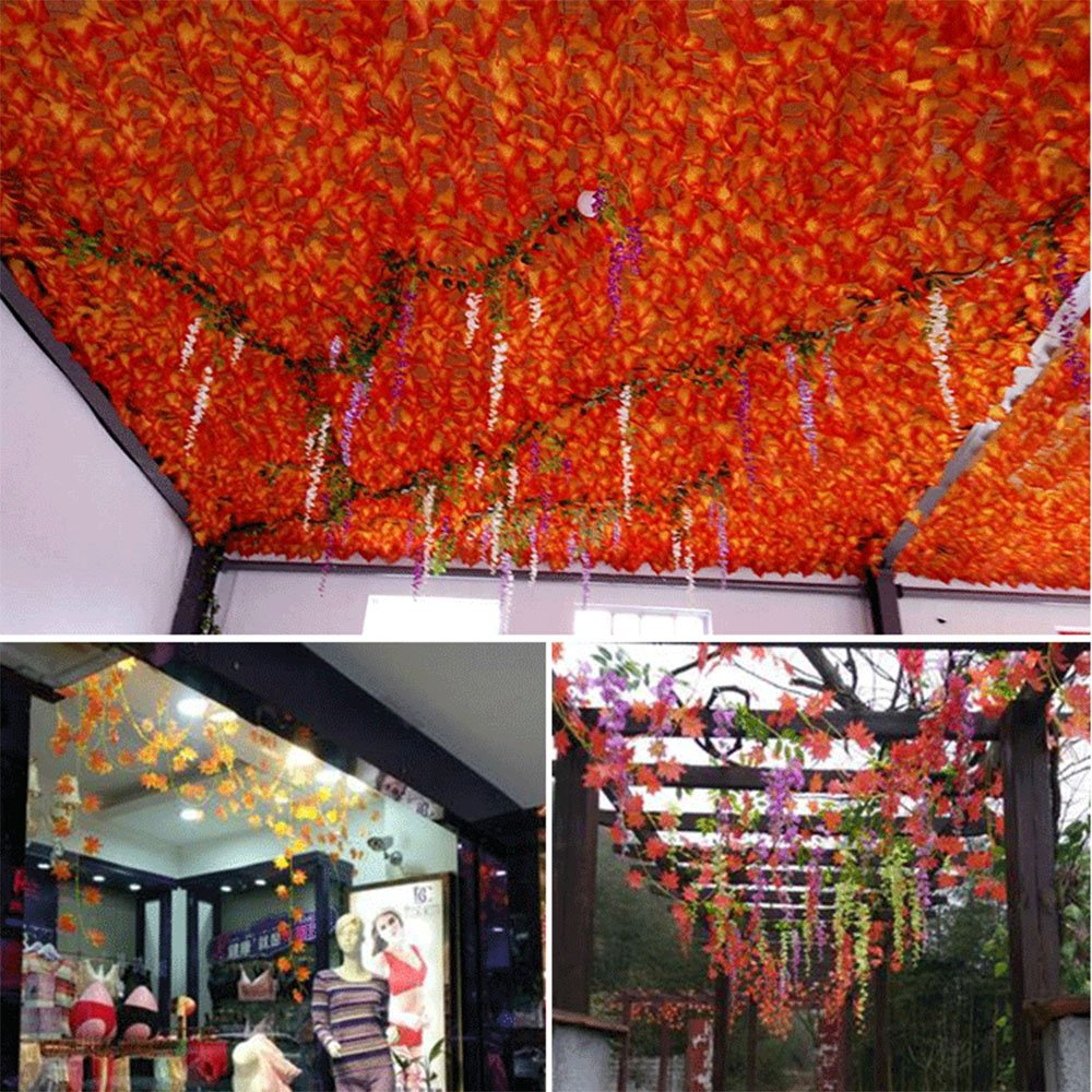 YEJI 12pcs 88 Inch Artificial Ivy Red Maple Leaf Leaves Garland Plants Vine Fake Foliage Flower Home Garden Decorations or decorating home, hotel, wedding, party, garden, fences, etc. by YEJI (Image #4)