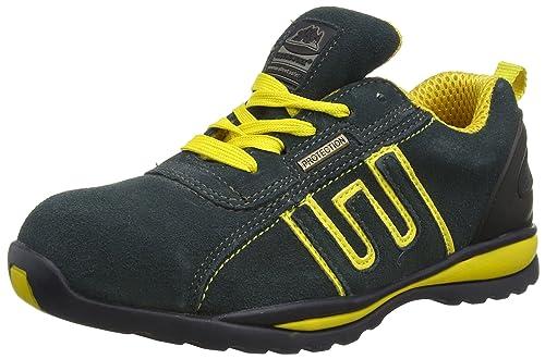 Groundwork GR86 Zapatos de Seguridad de Cuero, Unisex, Azul (Navy/Yellow), 37 EU (3 UK)