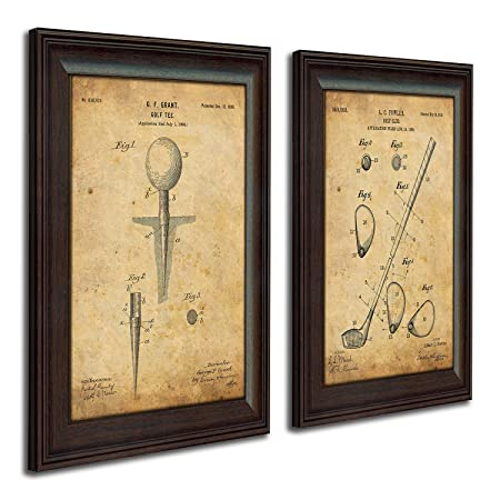 Framed Golf Patent Art Prints – 14 in X 17 in Finished Size 2 Set Tee Club