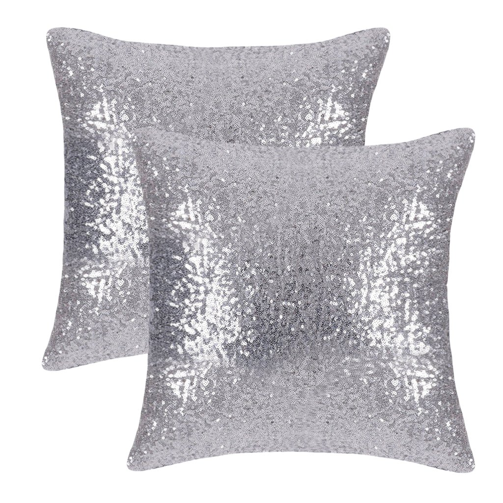 PONY DANCE Sparkling Sequins Decor Cushion Covers Glitzy Sequin Solid Throw Pillow Covers Pillowcases Party/Christmas,Hidden Zipper Design,18 Inch Square,2 Cover Packs,Silver