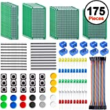 SIQUK 30 Pcs PCB Board with 60 Pcs Led Diodes 20 Pcs Header Connector and 40 Pcs Jumper Wire 10 Pcs Screw Terminal Block…