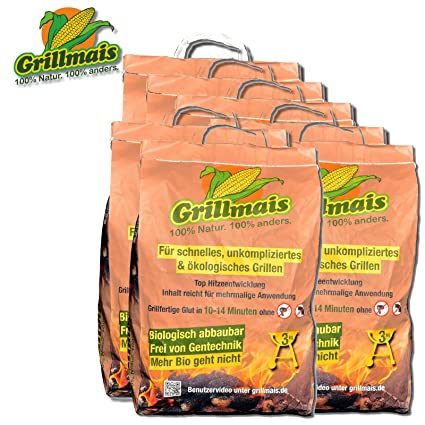 Grillmais Barbacoa maíz 7 x 3 kg Carbón de maíz 100% Natural 100% SOSTENIBLE