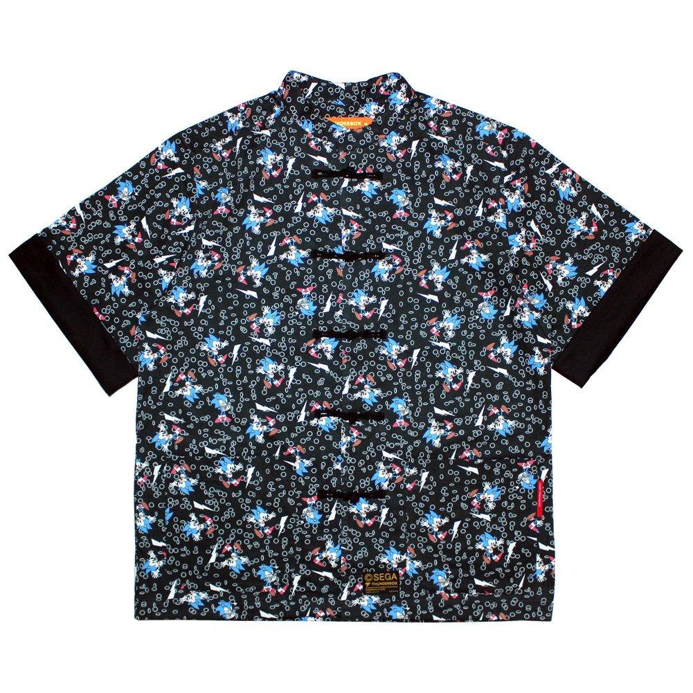 THUNDERBOX × SONIC THE HEDGEHOG KUNG FU SHIRT | BLACK ブラック サンダーボックス カンフーシャツ 半袖 総柄 ソニック コラボ (M)