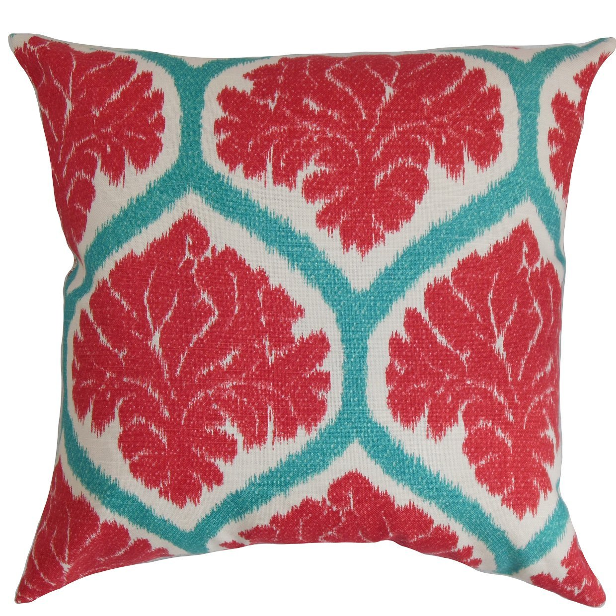 The Pillow Collection Priya Floral Bedding Sham Poppy Red European//26 x 26