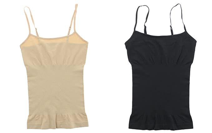 8cebce107a1bc Marilyn Monroe Intimates Seamless Body Shaping Cami (2Pc) - Black -   Amazon.co.uk  Clothing