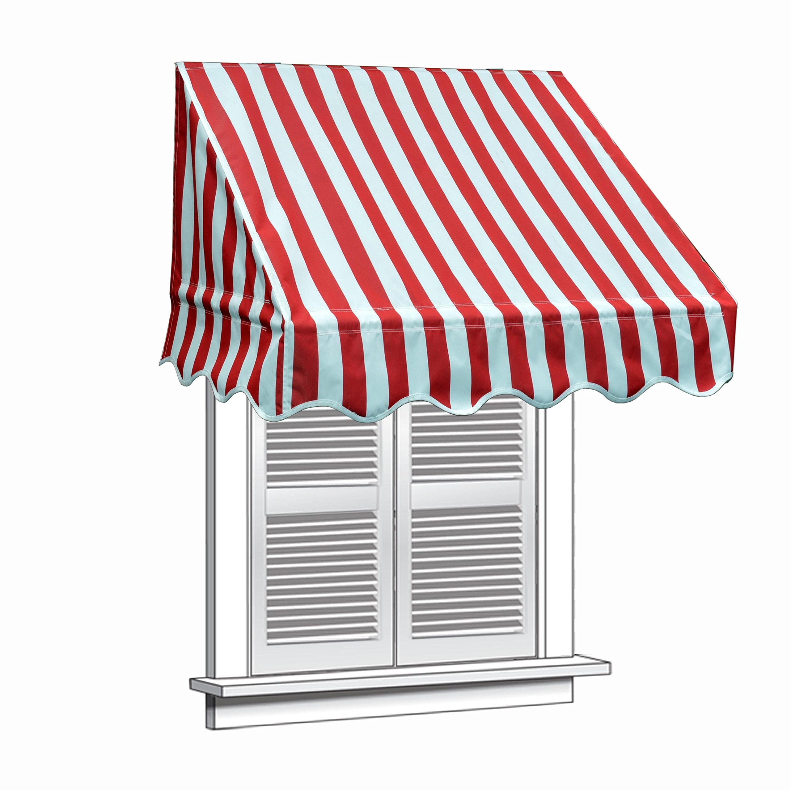 ALEKO 4x2 Feet Multiple Stripes Red Window Awning Door Canopy 4-Foot Decorator Awning by ALEKO
