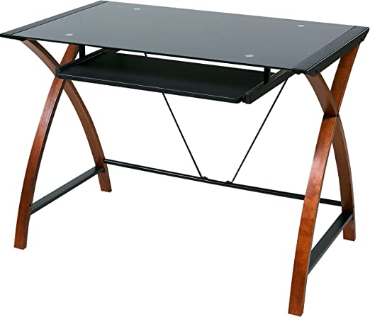 Amazon Com Onespace Glass And Wood Computer Desk With Pullout
