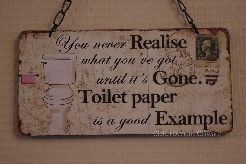 You Never Realise Toilet Paper Funny Wooden Plaque Sign Bathroom. TOILET RULES HANGING PLAQUE METAL BATHROOM SIGN FUNNY MESSAGE DOOR