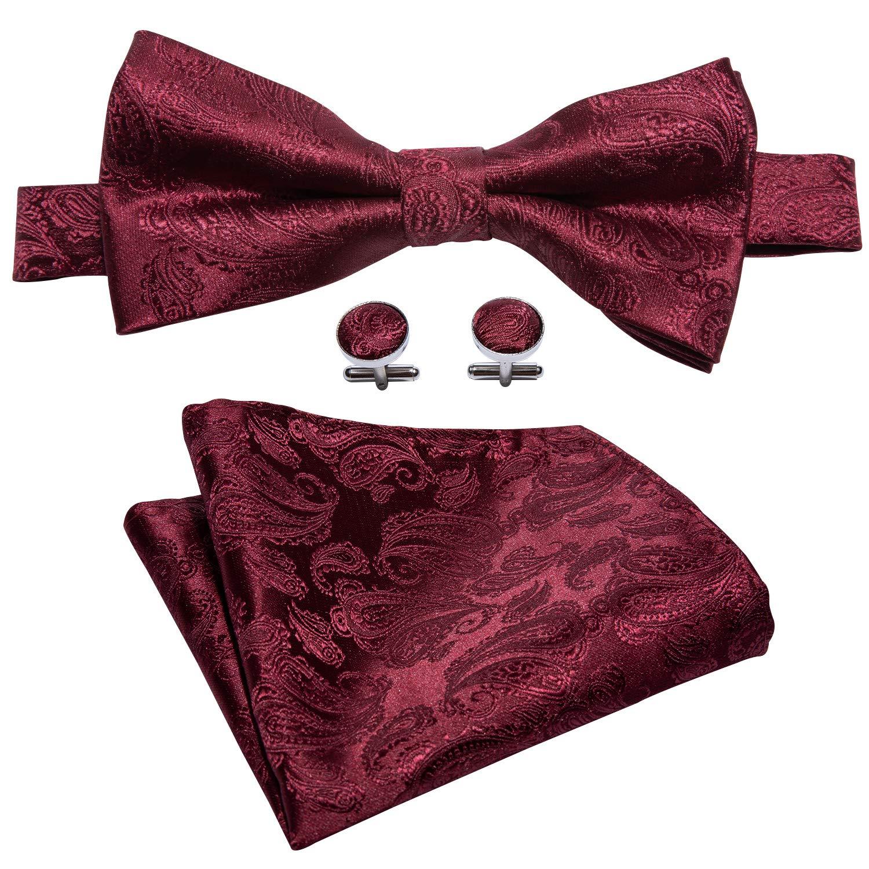 YOHOWA Pretied Solid Silk Bow Tie Hankerchief Cufflinks Mens Burgundy Bow Tie Pocket Suqare Set