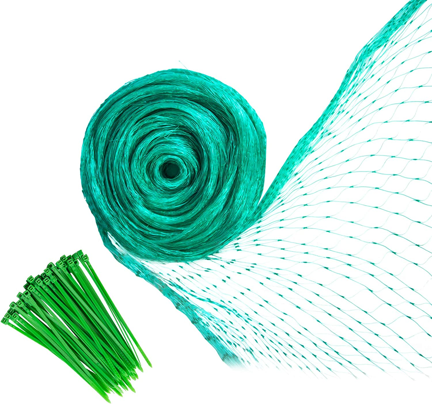 YHmall Bird Netting, 13 x 33 Feet Reusable Heavy Duty Fruit Tree Netting, Garden Netting Protect Fruit Trees Blueberries Plants and Vegetables from Birds and Animals (Green, 50 Pcs Cable Ties)