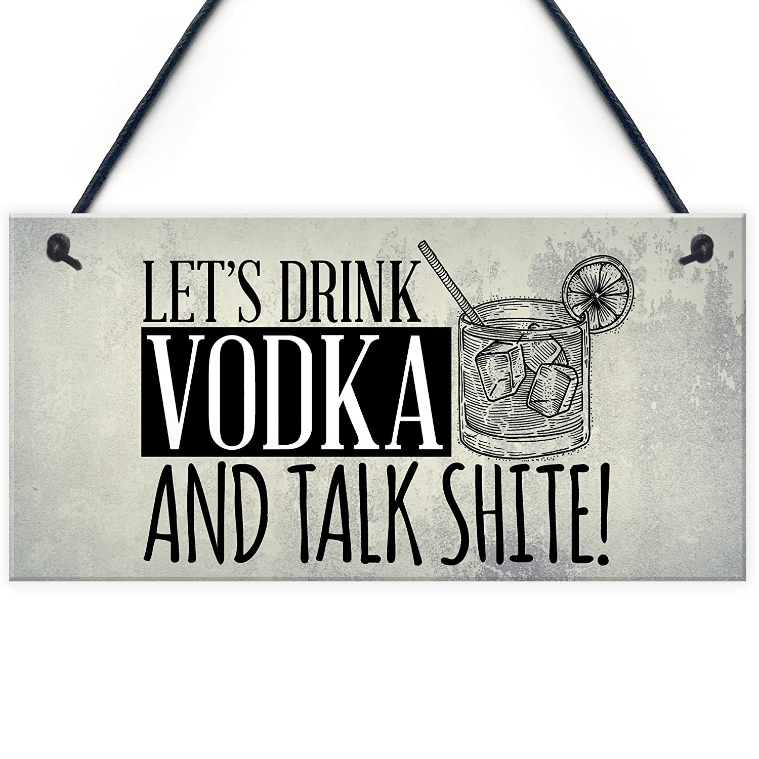 RED OCEAN Lets Drink Vodka Funny Alcohol Gift Man Cave Home Bar Hanging Wall Door Plaque Pub Sign