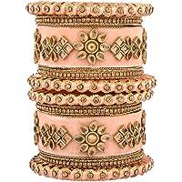 Efulgenz Indian Bangle Set CZ Crystal Kundan Wedding Bridal Silk Thread Velvet Bangle Bracelets Jewelry for Women Girls