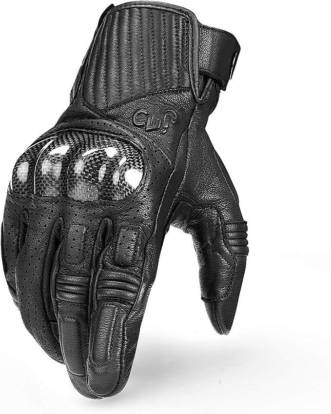 INBIKE Guantes Moto 100% Piel De Cabra para Hombre Guantes Moto Cuero De Pantalla TÁCtil(IM19820)