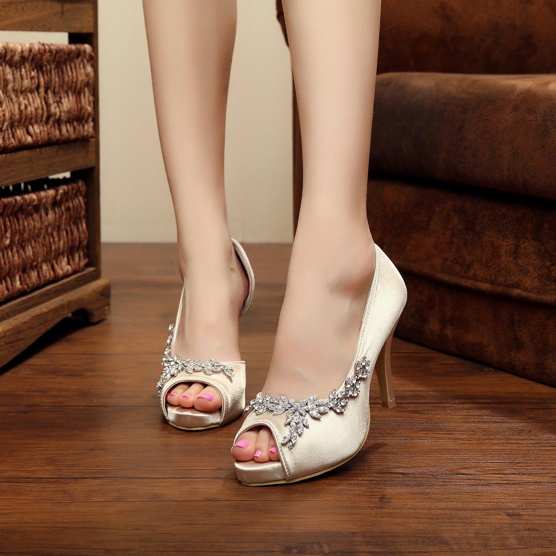 Minishion GYMZ632 Womens Open Toe Kitten Applique Heel Satin Bridal Wedding Applique Kitten Shoes B01FPFB6G6 7.5 B(M) US|Champagne-10cm Heel 1e1c16