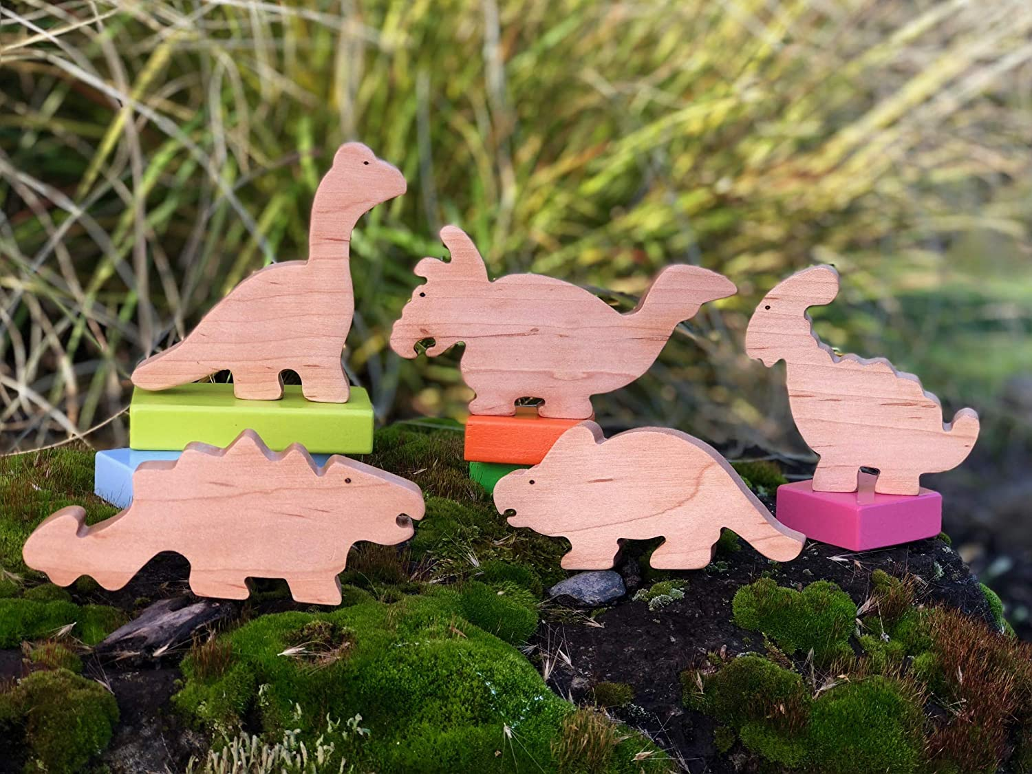 Dinosaur Friends Play Set - Organic Toy Maple Wooden Toys Waldorf Toy Montessori Toy Educational Enrichment Toy