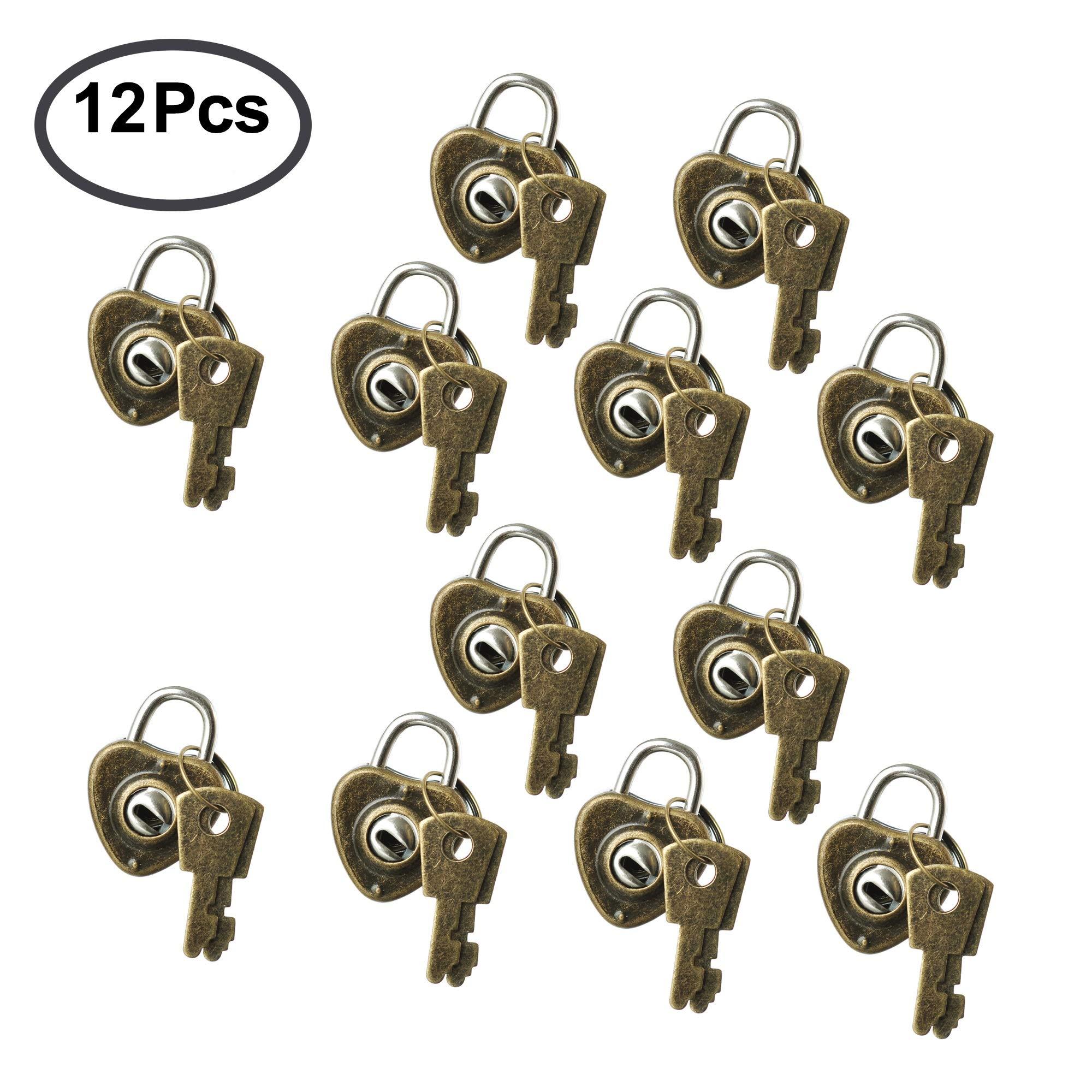 TTBD Mini Bronze Heart Lock, 12Pcs Vintage Heart Shaped Padlocks Key Locks Included 24 Keys by TTBD