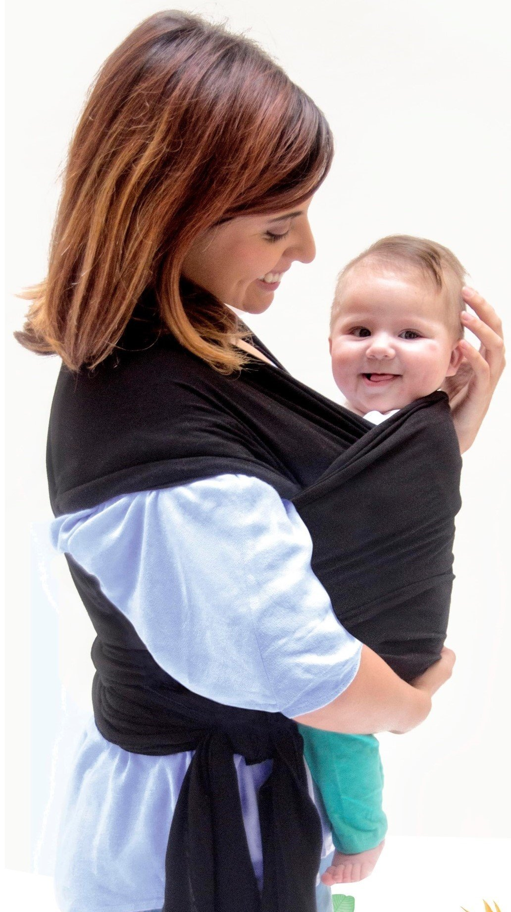 Baby Carrier Wrap Sling Swaddles for Infant and Newborn in Peruvian Cotton - Black with Large