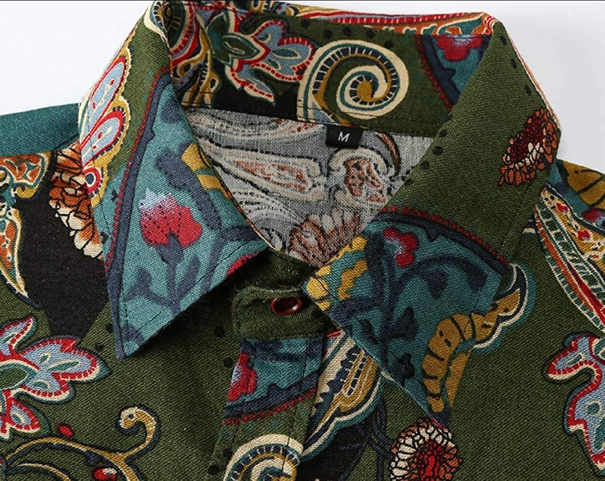 Mfasica Mens Retro Paisley Shirt Floral Print Long Sleeve Casual Shirt