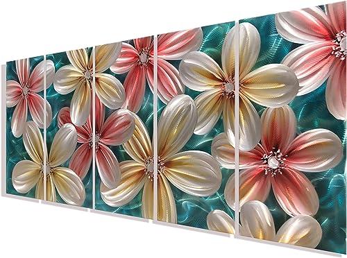 Colorful Metal Flower Wall Art Bright Color Decor Multiple Sculpture Artwork Set of 5 Panels