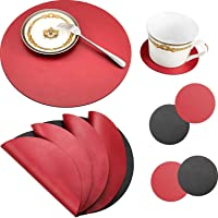 8 Pieces Round Leather Placemat and Coasters Set, PU Waterproof Place Mat Heat Resistant Non-Slip Washable Mats for…