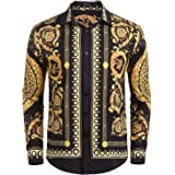 COOFANDY Mens Long Sleeve Luxury Design Print Dress Shirts Casual Slim Fit Floral Prints Button Down Shirt