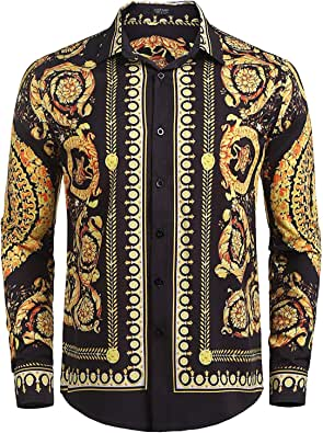 COOFANDY Mens Long Sleeve Luxury Design Print Dress Shirts Casual Slim Fit Floral Prints Button Down Shirt