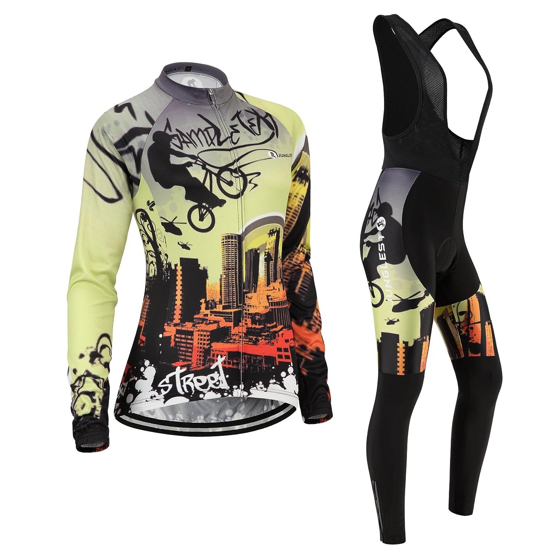 Cycling Jersey Setレディース長袖( S ~ 5 X L、オプション:よだれかけ、3dパッド) n247 (General pad)(Bust 43-45inchs) 種類: セット(ブラック前掛け) B01BX2GEHQ