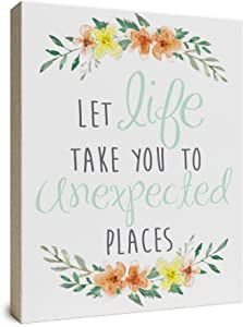 """Let Life Take You To Unexpected Places Wooden Box Wall Art Sign, Primitive Country Farmhouse Home Decor Sign With Sayings 10"""" x 8"""" By Barnyard Designs"""