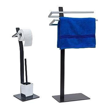 2 Tlg Badezimmer Set GRAO, WC Garnitur Freistehend, Handtuchhalter 2 Arme,  Toilettenpapierhalter,
