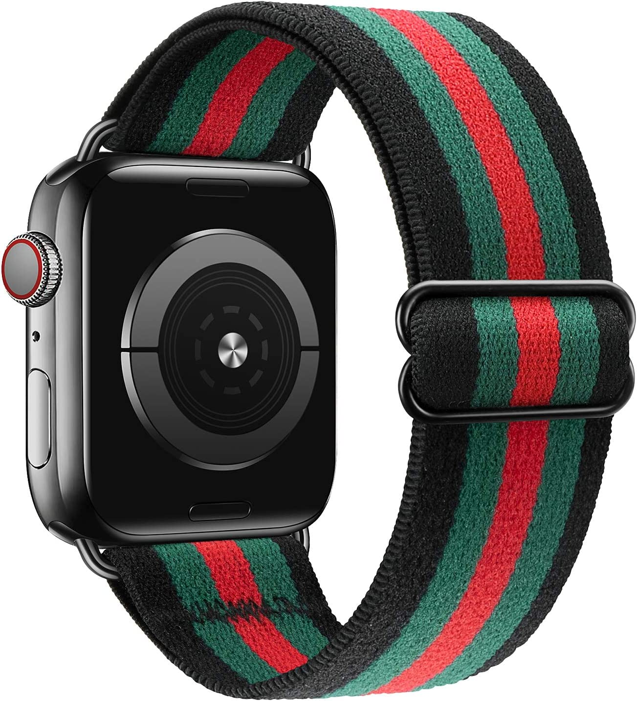 MEULOT Stretchy Braided Solo Loop Band Compatible with Apple Watch Band 38mm 40mm 42mm 44mm Adjustable Nylon Elastic Sport Women Men Strap Compatible with iWatch Series 6/5/4/3/2/1 SE BG Stripe 42/44L