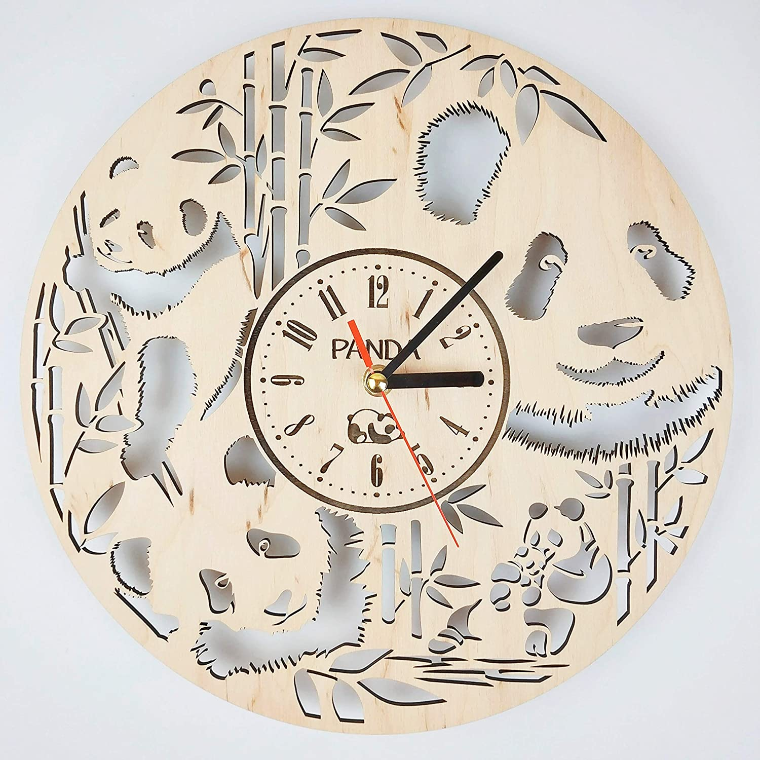 7ArtsStudio Panda Wall Clock Made of Wood - Perfect and Beautifully Cut - Decorate Your Home with Modern Art - Unique Gift for Him and Her - Size 12 Inches