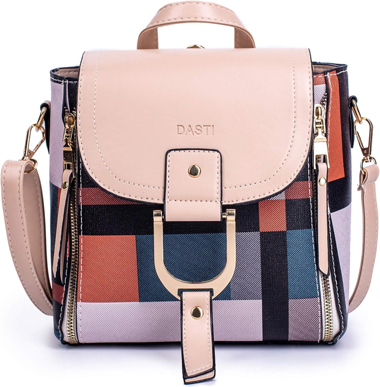 Shoulder bag with Minimalist Style 5 Ways 10 Pockets Convertible Backpack Cross-body bag Handbag and Detachable sling bag