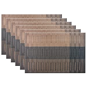 Bright Dream Table Mats PVC Placemats for Kitchen Table Mats Washable 12x18 inches Set of 6(Coffee+Black)