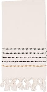 Sweet Water Decor Turkish Hand Towel - 100% Soft Turkish Cotton, Large Size 19 x 35 inches, White with Decorative Stripes, for Bathroom, Kitchen, Dish, or Baby Towel (Sydney - 5 Black and Tan Stripes)