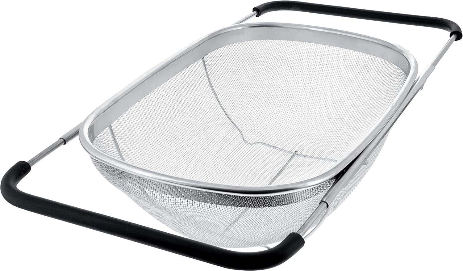 U.S. Kitchen Supply - Premium Quality Over The Sink Stainless Steel Oval Colander with Fine Mesh 6 Quart Strainer Basket & Expandable Rubber Grip Handles - Strain, Drain, Rinse Fruits, Vegetables