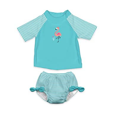 802bcbb3b6 i play. Baby Girls' Rashguard Set with Built-In Absorbent Swim Diaper,