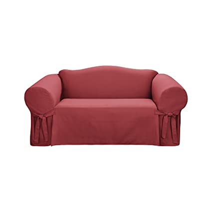 Sure Fit Logan 1 Piece   Loveseat Slipcover   Paprika (SF38147)