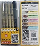 Sakura Pigma Micron pen, Archival pigment ink drawing pens - 6 pieces Manga Basic Set supplies for artist (005, 01, 05, 08, FB brush pen, Gelly roll pen white)