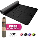 Eudaemonia Yoga Mat with Free Stylish Carry Bag - Eco Friendly 6mm Thick, TPE Textured, 61 cm x 183 cm