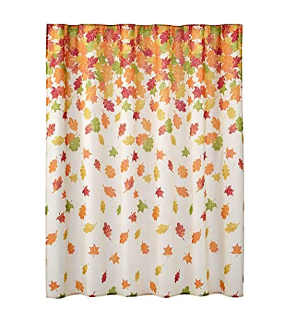 Image Unavailable Not Available For Color Autumn Harvest Falling Leaves Fabric Bathroom Shower Curtain